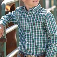 Cinch Boys Green Plaid Western Shirt