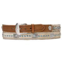 Nocona Mens Brown Calf Hair Rhinestone Belt