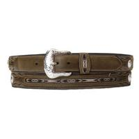 Nocona Mens Brown Fabric In-Lay Concho Belt