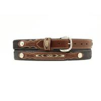 Nocona Boys Black and Brown Fabric Inset Belt