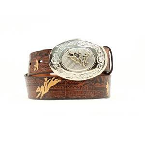 Nocona Kids Apache Leather Tooled Rodeo Belt