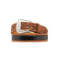 Nocona Mens Black and Tan Tooled Crocodile Belt