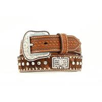 Nocona Kids Brown Rhinestone Calf Hair Belt