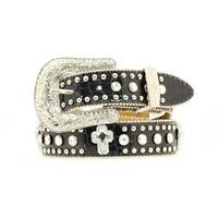Nocona Girls Black and Silver Cross Rhinestone Belt