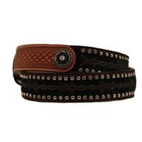 Nocona Mens Black and Tan Barbed Wire Belt