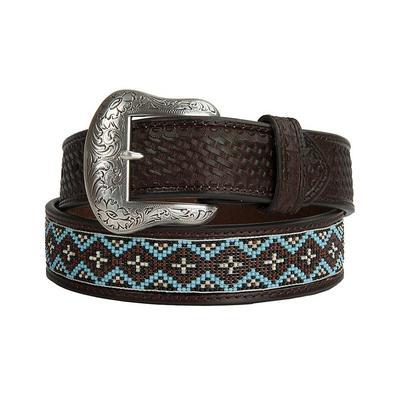Nocona Mens Dark Brown Beaded Leather Belt