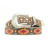 Nocona Women's Brown Southwestern Rhinestone Belt