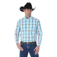 Wrangler Men's George Strait Turquoise and Brown Plaid Shirt