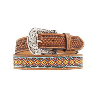 Nocona Mens Beaded Brown Leather Belt