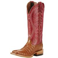 Ariat Women's Vaquera Red and Tan Caiman Boots