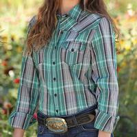 Cruel Girl Women's Green Plaid Button-Up Shirt