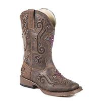 Roper Girl's Brown Crystal Cutout Boots