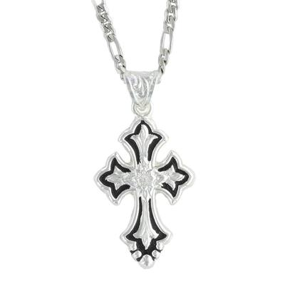 Montana Silversmiths's Silver and Black Cross Necklace