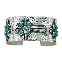 Montana Silversmiths's Turquoise Cross Hammered Cuff
