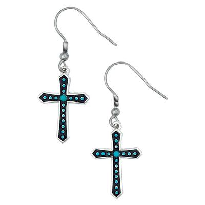 Montana Silversmiths's Turquoise Dotted Cross Earrings