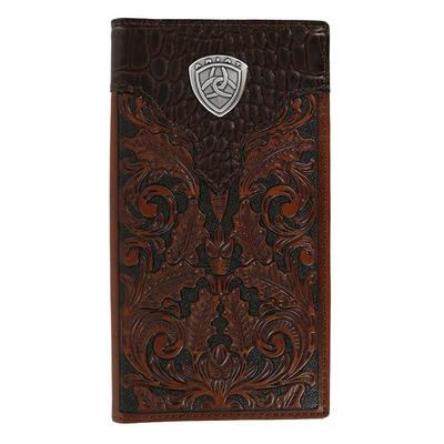 Ariat Men's M&F Western Tooled Faux Croc Rodeo Wallet