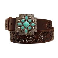 Ariat M&F Western Women's Turquoise Cross Buckle and Belt