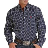 Cinch Men's Navy Square Print Shirt