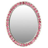 Silver and Pink Crystal Oval Selfie Mirror