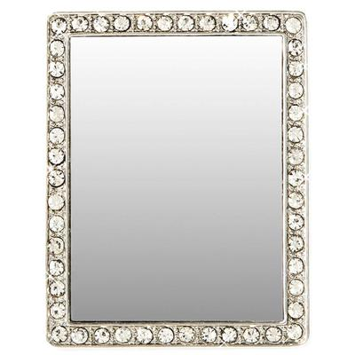 Silver and White Crystal Rectangle Selfie Mirror