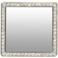 Silver and White Crystal Square Selfie Mirror