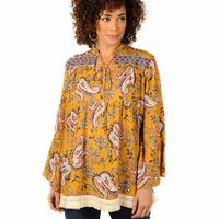 Ivy Jane Women's Golden Paisley Tiered Top
