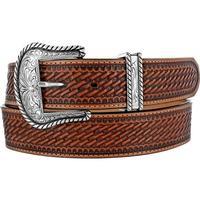 Justin Men's Bronco Brown Basket Weave Belt