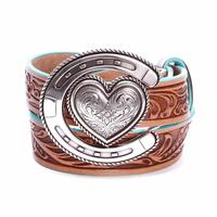 Justin Youth Tan Houston Heart Horseshoe Belt