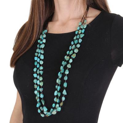 J. Forks 3 Strand Turquoise Kingman Necklace
