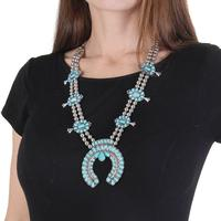 Silver and Turquoise Squash Bottom Necklace