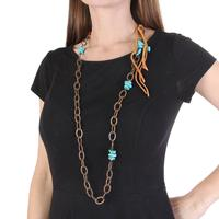 Turquoise and Leather Chain Necklace