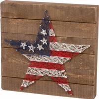 Stars and Stripes String Art Sign