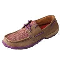 Twisted X Women's Purple Trim Basket Weave Moccasins