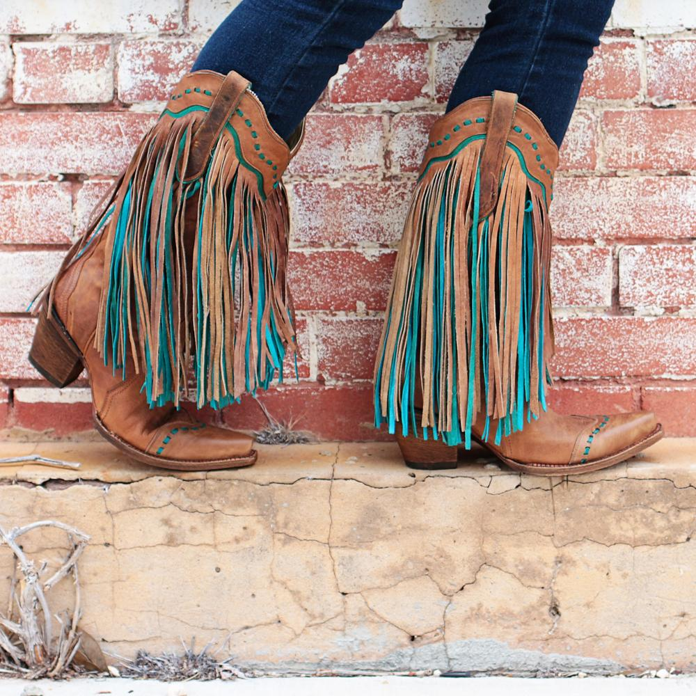 Corral Tan &Turquoise Fringed Boots | D&D