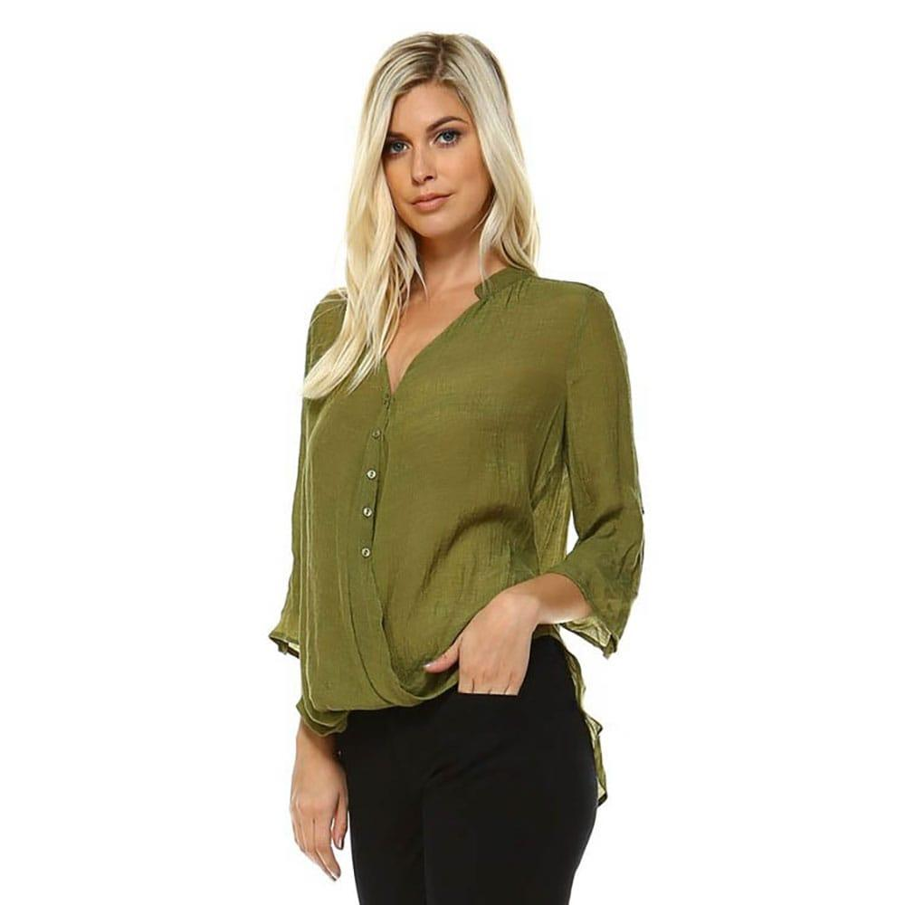 Corner Women's Army Green Wrap Blouse