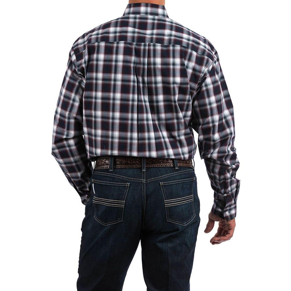 3ac1e87b7b Cinch Men s Shirt Cinch Men s Shirt Cinch Men s Navy And Burgundy Plaid  Shirt