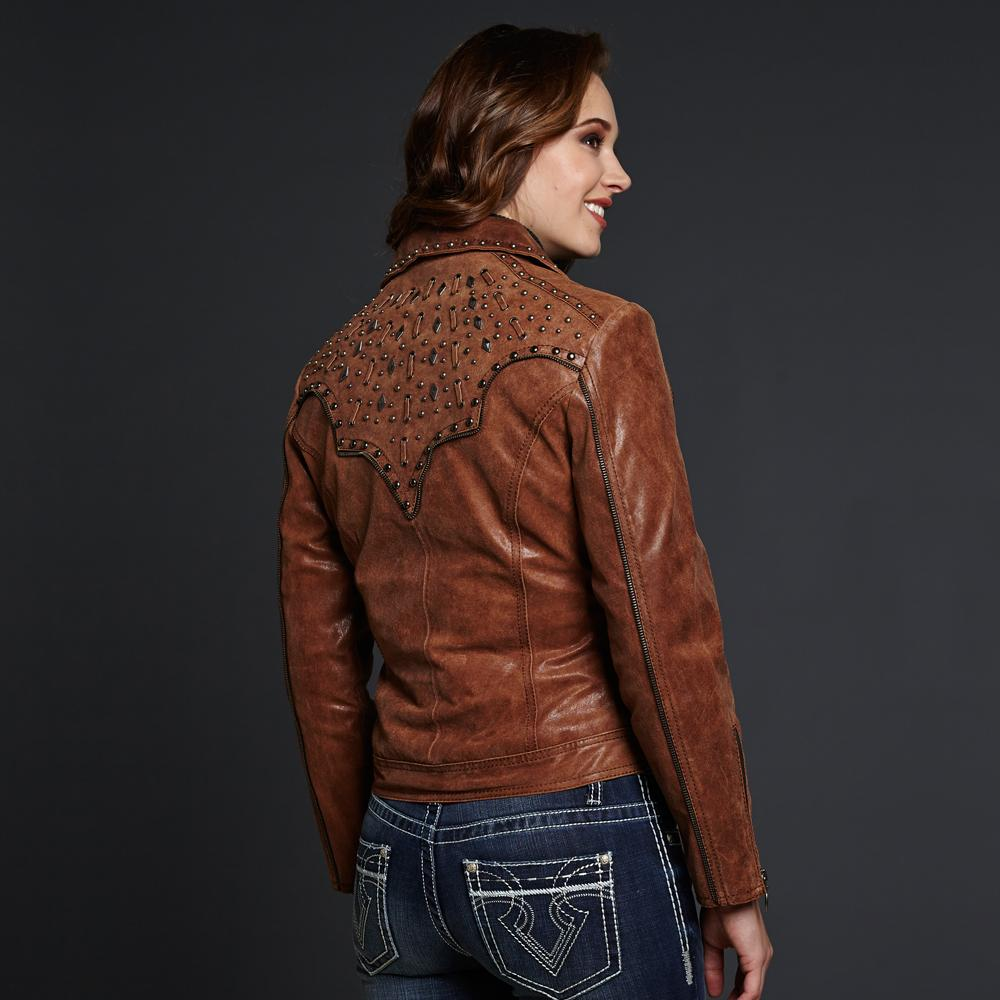 Cripple Creek Leather Jacket With Hand Laced Back Yoke D