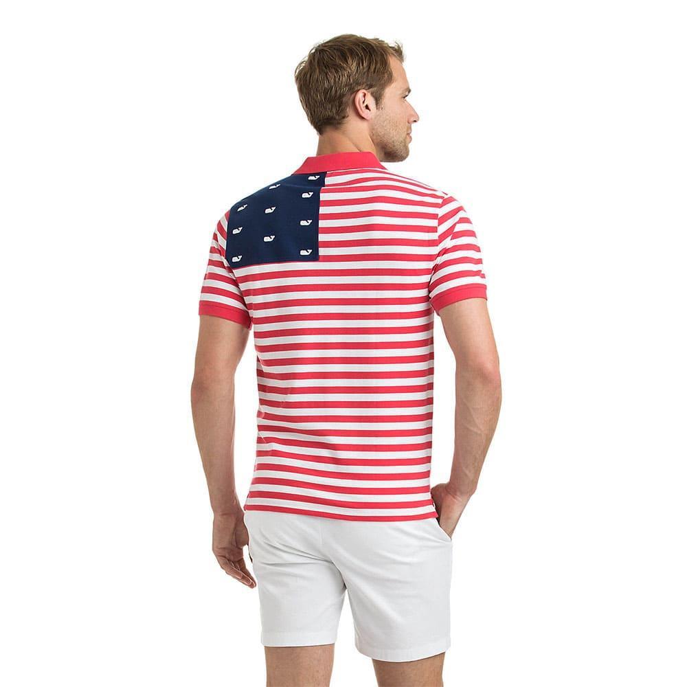 Vineyard Vines Mens Usa Flag Slim Polo Shirt