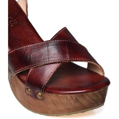 BedStu Women's Dark Scarlet Rust Kalah Sandal