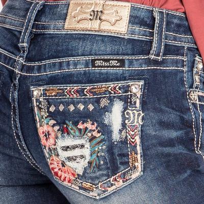 Miss Me Distressed Floral Jean